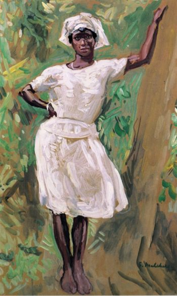 Sketch of Young Black Woman in White Dress and Hat | Gari Melchers | oil painting
