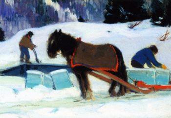 Ice Cutting Bair Saint Paul | Clarence Gagnon | oil painting