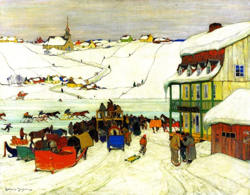 Horse Racing in Winter | Clarence Gagnon | oil painting