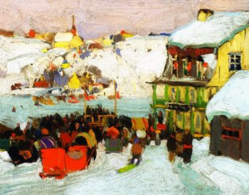 Horse Races in Winter | Clarence Gagnon | oil painting
