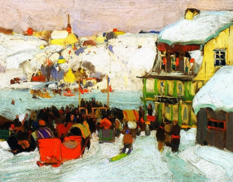 Horse Races in Winter   Clarence Gagnon   oil painting