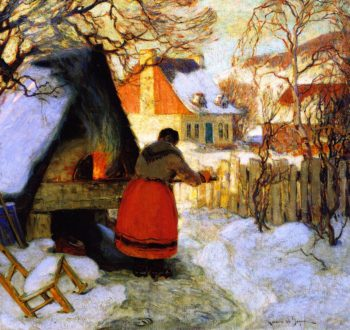 Heating the Oven Winter Scene | Clarence Gagnon | oil painting