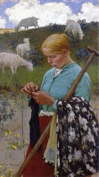 Audrey the Shepherd Lass | Gari Melchers | oil painting