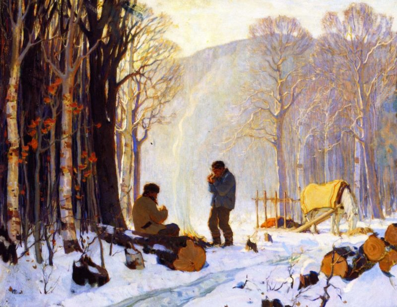 Early Winter Morning in the Woods Baie Saint Paul | Clarence Gagnon | oil painting