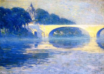 Early Morning Mist Pont de l'Arche | Clarence Gagnon | oil painting