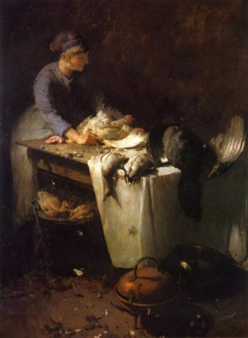 A Young Girl Preparing Poultry | Emil Carlsen | oil painting
