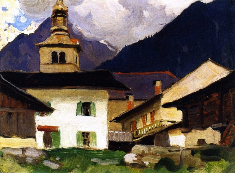 Church of Les Houches Haute Savoie France   Clarence Gagnon   oil painting
