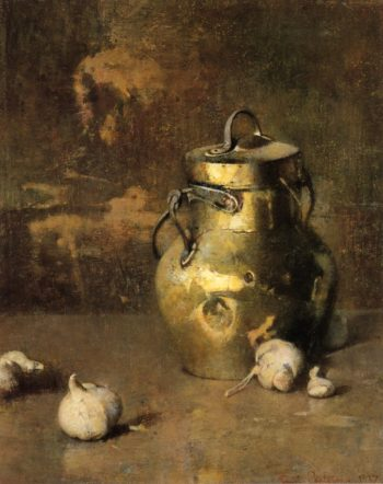 Brass Jar with Onions | Emil Carlsen | oil painting