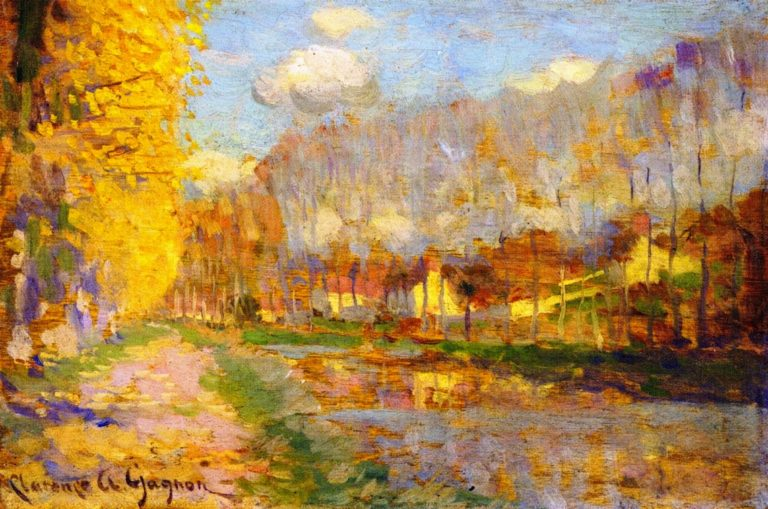 Canal du Loing Moret | Clarence Gagnon | oil painting