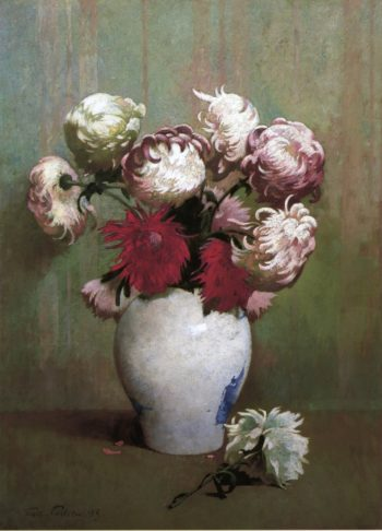 Chrysanthemums in a Canton Vase | Emil Carlsen | oil painting