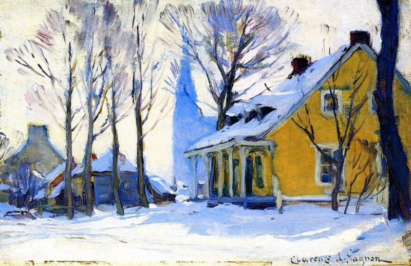Canadian Village Grey Day   Clarence Gagnon   oil painting