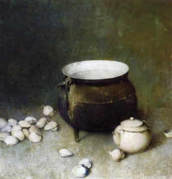Iron Kettle and Clams | Emil Carlsen | oil painting