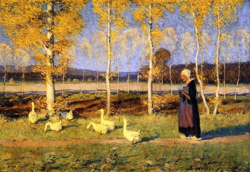 Brittany Goose Girl | Clarence Gagnon | oil painting