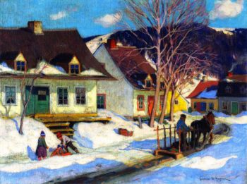 A Quebec Village Street Winter | Clarence Gagnon | oil painting