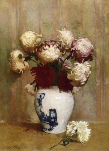 Mums in an Oriental Vase | Emil Carlsen | oil painting