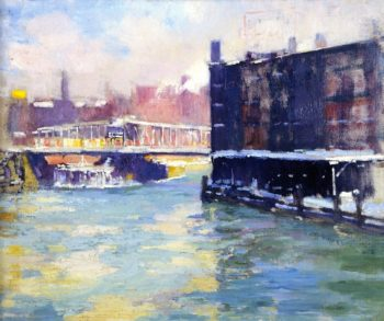 State Street Bridge Along the Chicago River | Alson Skinner Clark | oil painting