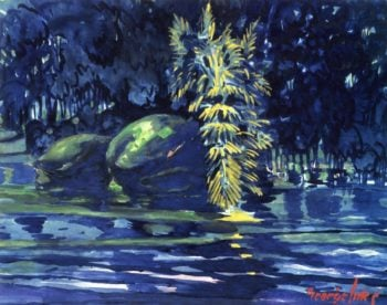 Boulders on a Riverbank   George Benjamin Luks   oil painting