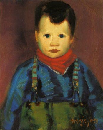 Boy with Suspenders   George Benjamin Luks   oil painting
