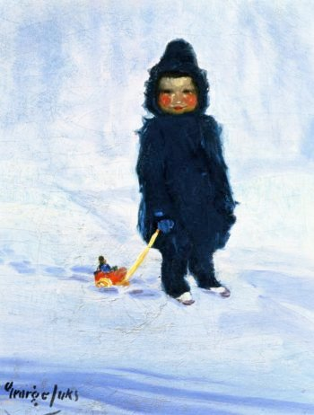 Child with Wagon   George Benjamin Luks   oil painting