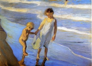 Valencia Two LIttle Girls on a Beach | Joaquin Sorolla y Bastida | oil painting