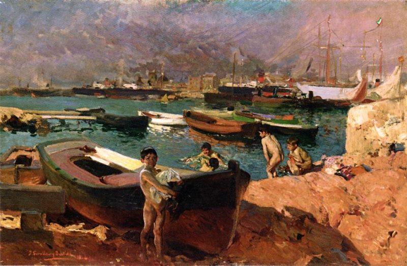 Valencia's Port | Joaquin Sorolla y Bastida | oil painting