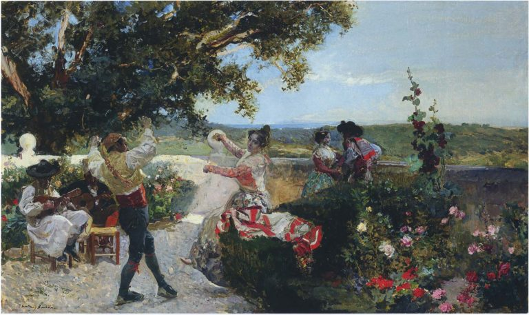 Valencian dance in an orange grove | Joaquin Sorolla y Bastida | oil painting