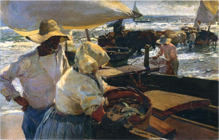 Valencia Beach Morning sun | Joaquin Sorolla y Bastida | oil painting