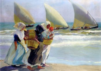 Three Sails | Joaquin Sorolla y Bastida | oil painting