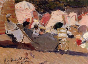 The Beach at Biarritz   Joaquin Sorolla y Bastida   oil painting