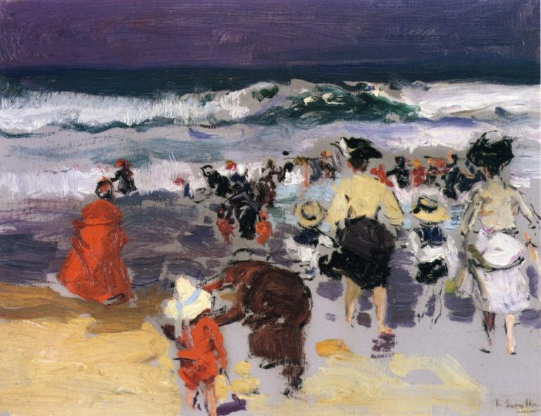The Beach at Biarritz 1   Joaquin Sorolla y Bastida   oil painting