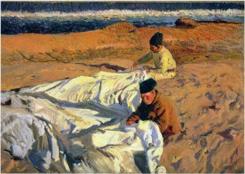 Sewing the Sail | Joaquin Sorolla y Bastida | oil painting