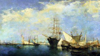 Seascape Ships in the Port | Joaquin Sorolla y Bastida | oil painting