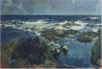 Sea and rocks in San Esteban Asturias | Joaquin Sorolla y Bastida | oil painting