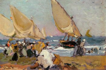 Sailing Vessels on a Breezy Day Valencia | Joaquin Sorolla y Bastida | oil painting