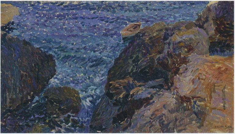 Rocks at Javea The White Boat | Joaquin Sorolla y Bastida | oil painting