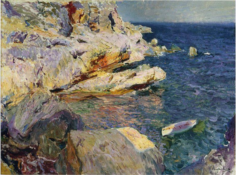 Rocks and white boat Javea | Joaquin Sorolla y Bastida | oil painting