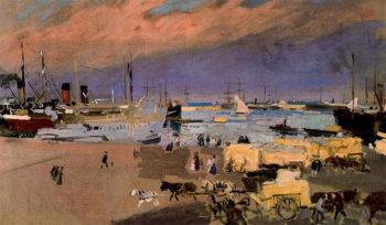 Port Valencia | Joaquin Sorolla y Bastida | oil painting