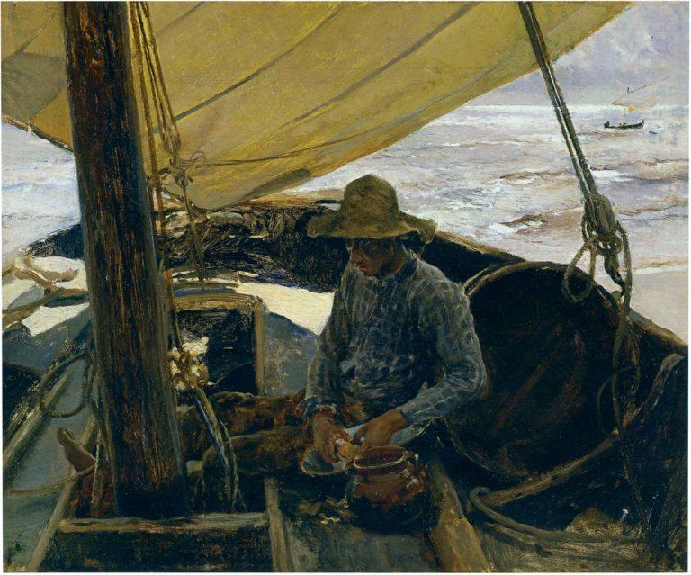 Peeling Potatoes | Joaquin Sorolla y Bastida | oil painting