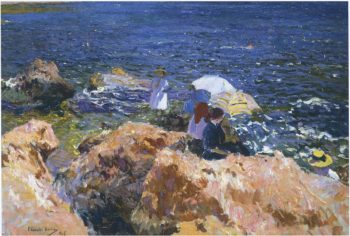 On the Rocks at Javea | Joaquin Sorolla y Bastida | oil painting