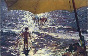 Midday at Valencia beach | Joaquin Sorolla y Bastida | oil painting
