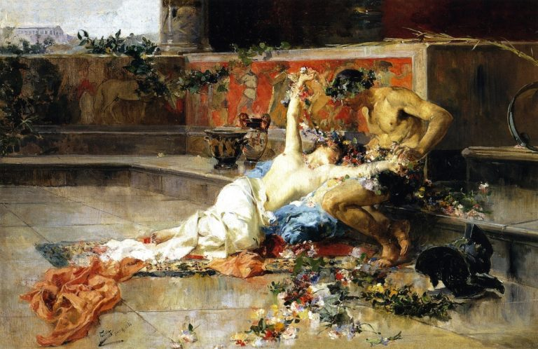 Messalina in the Arms of the Gladiator | Joaquin Sorolla y Bastida | oil painting