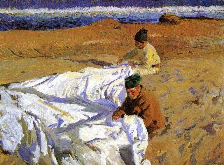Mending the Sail | Joaquin Sorolla y Bastida | oil painting