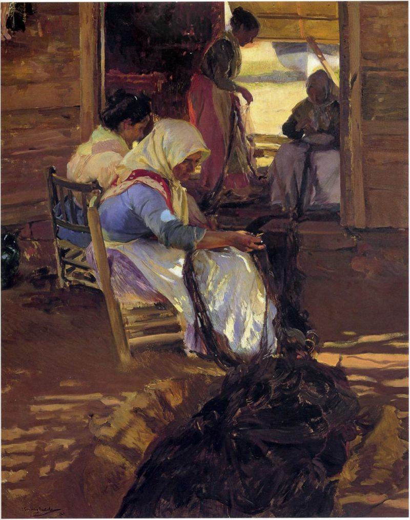Mending nets | Joaquin Sorolla y Bastida | oil painting