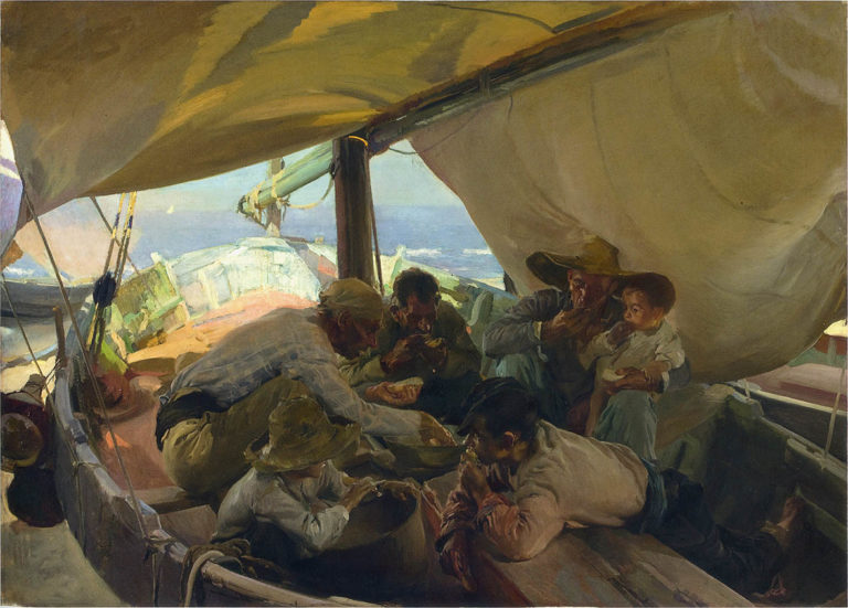 Meal on the Boat | Joaquin Sorolla y Bastida | oil painting