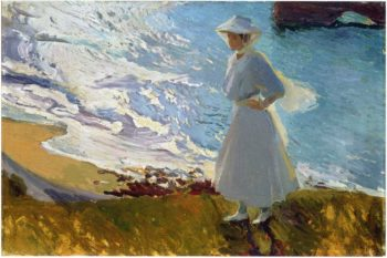 Maria at the Beach Biarritz | Joaquin Sorolla y Bastida | oil painting
