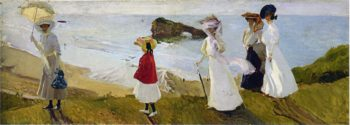 Lighthouse walk at Biarritz | Joaquin Sorolla y Bastida | oil painting