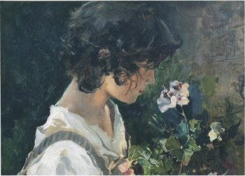 Italian Girl with Flowers   Joaquin Sorolla y Bastida   oil painting
