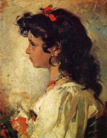 Head of an Italian Girl   Joaquin Sorolla y Bastida   oil painting