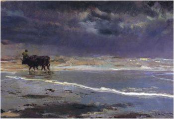 Gray day on Valencia beach | Joaquin Sorolla y Bastida | oil painting
