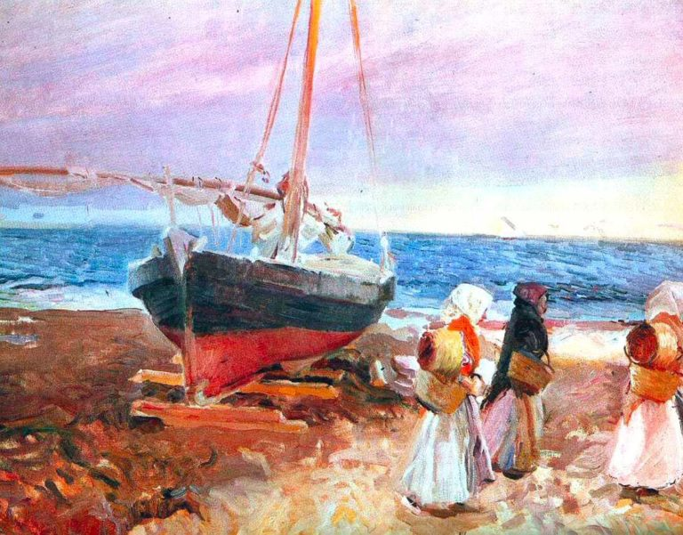 Fisherwomen on the Beach Valencia | Joaquin Sorolla y Bastida | oil painting